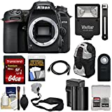 Nikon D7500 Wi-Fi 4K Digital SLR Camera Body with 64GB Card + Battery & Charger + Backpack + Strap + Flash + HDMI Cable + Remote + Kit