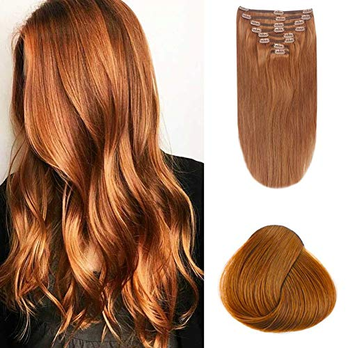 Remy Human Hair Extensions Clip in 120g Yaki Straight Full Head Sleek Best Quality Brazilian Remy Hair Summer Hairstyles for Women for Halloween/Party 7pcs (16