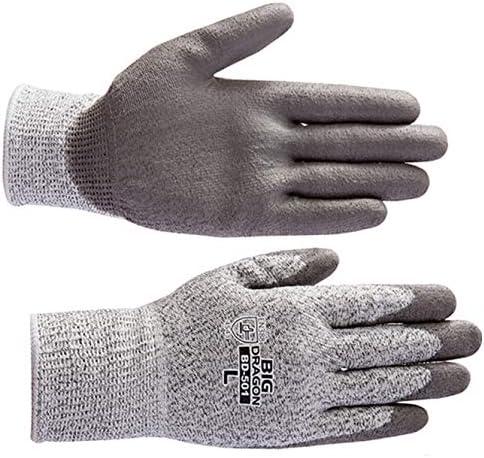 BD 501 ノンカットグリップ(10双) LLサイズ ガラスや刃物などの切裂きに強いPUコート手袋 プリカチューブ電線管のカット プリカナイフ作業 ヨーロッパCE規格(EN388) レベル5 防刃手袋 防護手袋