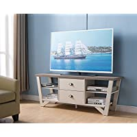 161626 Smart Home Dark Taupe & Ivory Entertainment TV Stand Storage With Drawers and Shelves