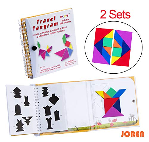 JCREN Tangram Travel Game Magnetic Puzzle Book Game Tangoes Jigsaw 360 Magnetic Pattern Puzzles with 7 Simple Magnetic Colorful Shapes Toy for Kid Adult Challenge IQ Educational Book【Pack of 2 Set】