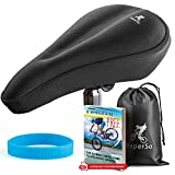 SuperSo Bike Gel Seat Cushion Cover - Premium Padded Bike Saddle - Comfortable Alternative Bicycle Cover for Passionate Cyclists (Black Medium-Narrow)