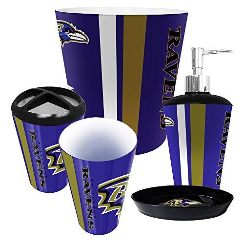 Baltimore Ravens 5 Piece Bathroom Set (Ravens Soap Dispenser compare prices)