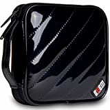 Homeself Glossy Pu 32 Capacity Pu Leather Cover CD / DVD Wallet, CD / DVD Organizer Travel Bag (Black)