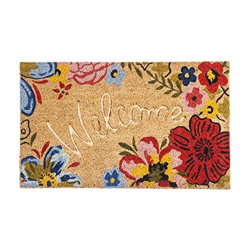 Evergreen Flag Floral Debossed Welcome Coir Floor Mat