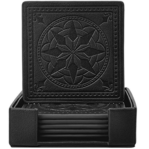 Drink Coasters ,365park PU Leather Coaster Set of 6 with Holder-Protect Your Furniture from Stains,Black
