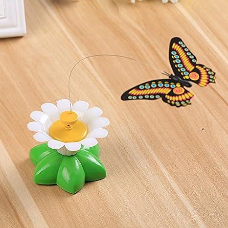 Kicode Juguete de mariposa para gatos de mascotas Mariposa voladora eléctrica Gracioso girando Juguete interactivo Con una cinta de fijación Mariposa de ...