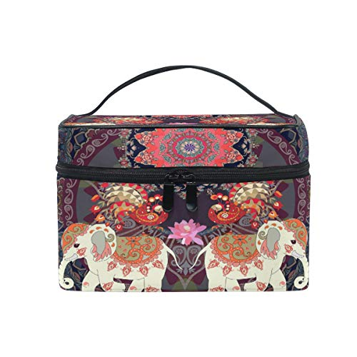 MOFEIYUE Travel Makeup Bag Indian Ethnic Elephant Mandala Portable Cosmetic Case Organizer Toiletry Bag Pouch Makeup Train Case for Women Girls