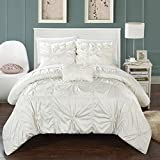 Perfect Home 4 Piece Monet Floral Pinch Pleat Ruffled Designer Embellished King Duvet Cover Set White