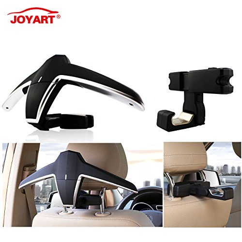 Joyart Car Back Seat Headrest Coat Hanger and Storage Hooks Vehicle Universal Foldable Multi-Purpose Hanging Holder for Jacket Clothes Handbag Grocery - Car Jackets