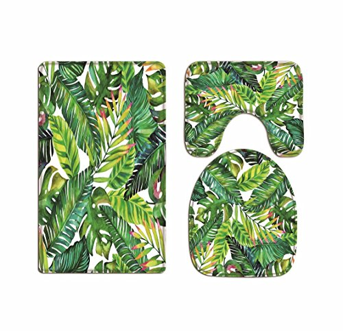 (A.Monamour Tropical Green Banana Tree Leaves Spring Theme Print Soft Flannel Cloth Washable Toilet Seat Covers Toilet Lid Covers Cushions Pads Skidproof Bath Mat Rug for Toilet)