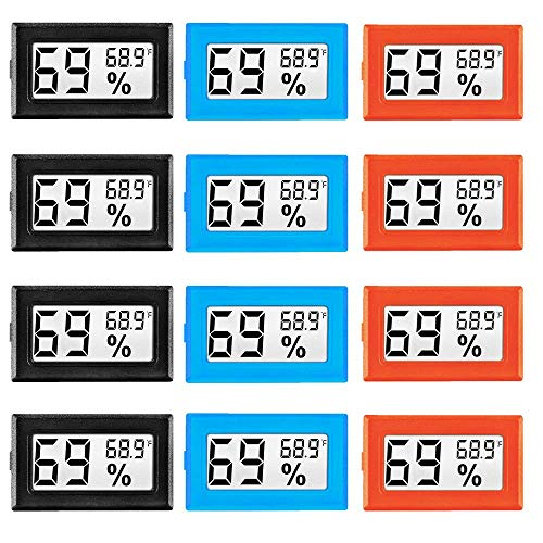 LinkDm 12 Pack Mini Digital Electronic Temperature Humidity Meters Gauge Indoor Thermometer Hygrometer LCD Display Fahrenheit (℉) for Humidors, Greenhouse, Garden, Cellar, Fridge, Closet