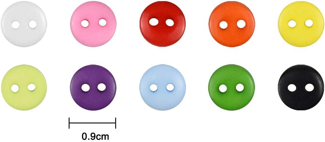 Piezas Bot/ón de Resina Botones Redondos Costura Mezclados Botones de Resina con Caja de Pl/ástico para manualidades de Infantil Costura DIY Coser Artesan/ía 10 color