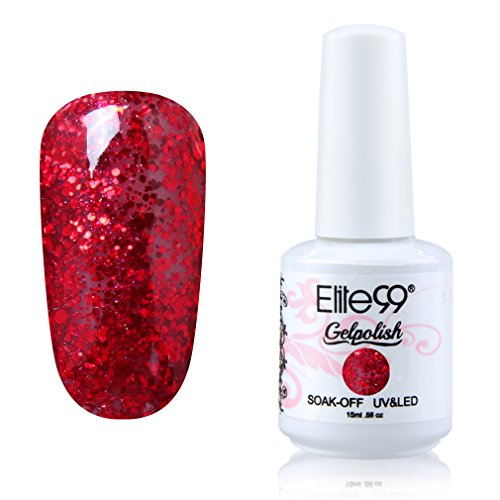 Qimisi Soak-off Gel Polish Lacquer Nail Art UV LED Manicure Varnish 15ml Glitter Red (Red Sparkle Nail Polish compare prices)