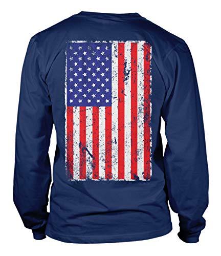 Distressed USA Flag - United States of America Unisex Long Sleeve Shirt (Navy - Back Print, Large) (Long Distressed Sleeve Tee)