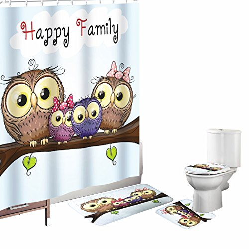 Amagical 16 Piece Bathroom Mat Set Shower Curtain Set Cartoon Style Owl Happy Family Mother Father Daughter Son Sitting on a Branch Bath Mat Contour Mat Toilet Cover Shower Curtain with 12 Hooks Blue (Bath Owl Accessories)