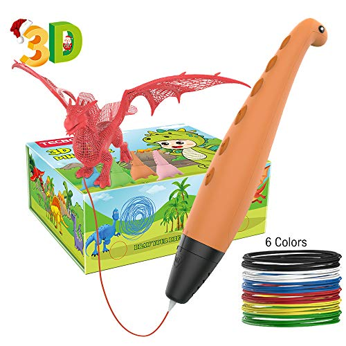 (Upgraded Version) TECBOSS 3D Pen for Kids, Dinosaur Design 3D Printing Pen You Can Print What You Design, Interesting Gifts for All Age