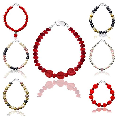 Price comparison product image Baby & Girls' Beaded Bracelets With Swarovski, Crystals, Simulated Pearls & Other Stones - Sterling Silver by D Charm
