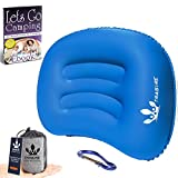 Trasire Inflatable Camping Pillow Ultralight Hiking Camp, Indoor, Outdoor Small Travel Pillow for Sleeping - Portable, Waterproof, Neck, Lumbar Support Cushion - Incl. Camping eBook & Carabiner