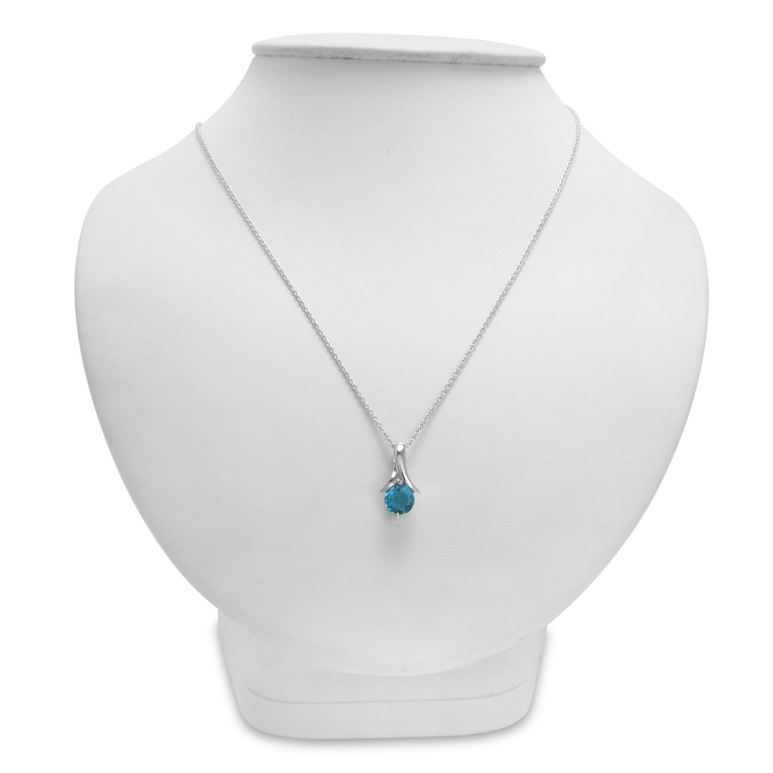 Solitaire Gemstone Pendant Necklace in Sterling Silver on an 18 inch Chain