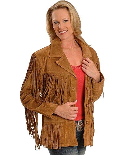 Liberty Wear Women's Fringe Leather Jacket Tobacco Large - Suede Fringe Jacket