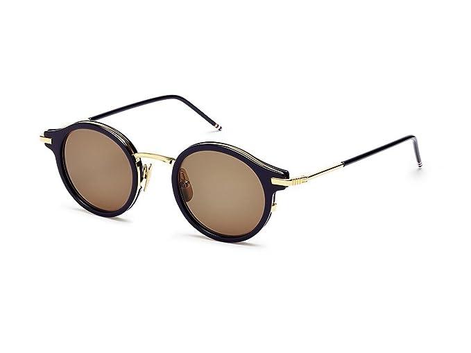 5b83a764542 Sunglasses THOM BROWNE TB 807 D-T-NVY-GLD Navy-18K Gold w Dark Brown ...