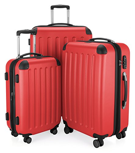 "HAUPTSTADTKOFFER - Spree - Set of 3 Hard-side Luggages Suitcase Hardside Spinner Trolley Expandable (20"", 24"" & 28"") TSA, Red by Hauptstadtkoffer"