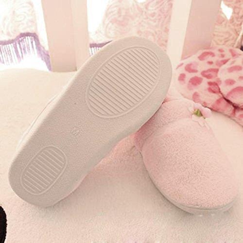 Ama (tm) Vrouwen Zwangere Bloemen Thuis Slippers Winter Zacht Warm Yoga Schoenen Roze