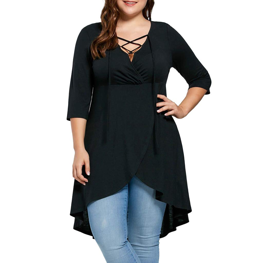 Womens Plus Size Dress Solid T-Shirt V-Neck Shirt Lace Up Short Sleeve Top