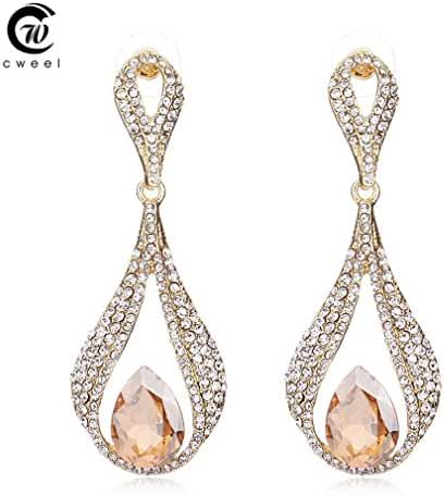 Glucky : Gold Plated Crystal Dangle Earrings For Women Drop Long Bridal Wedding Party Brincos Accessories Jewelry Earring