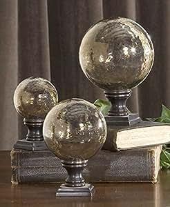 "The Lamya Glass Globe Finials, Set/3"" Vases Urns & Finials"