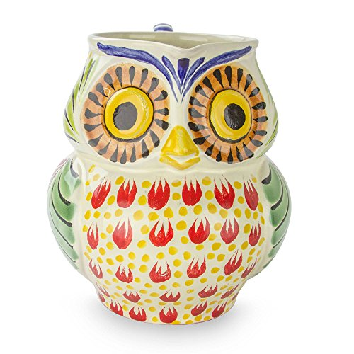 NOVICA Multicolor Animal Themed Ceramic Pitcher, 87 oz. 'Owl (Novica Ceramic Pitcher)