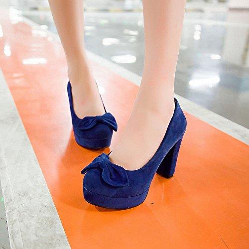 MissSaSa Donna Scarpe col Tacco Metà Vintage Stile (34, blu)
