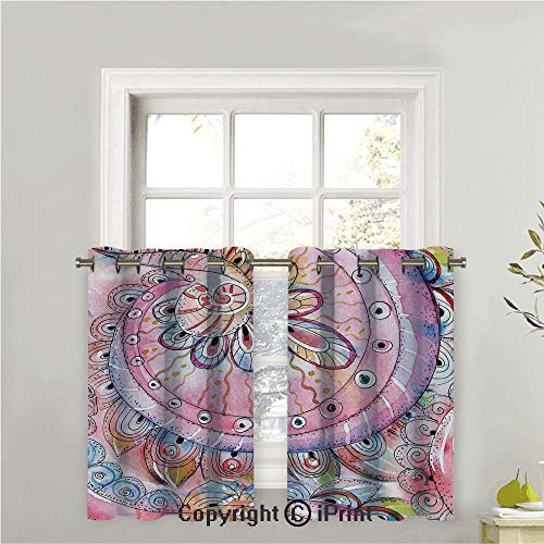 Arabesque Tier Two - LIFEDZYLJHGO Short Curtains Half Window Curtains for Bedroom,Privacy Curtain Tiers for Windows,Set of 2,Arabesque Traditional Ethnic Floral Pattern Colored with Watercolor Effects Art,42