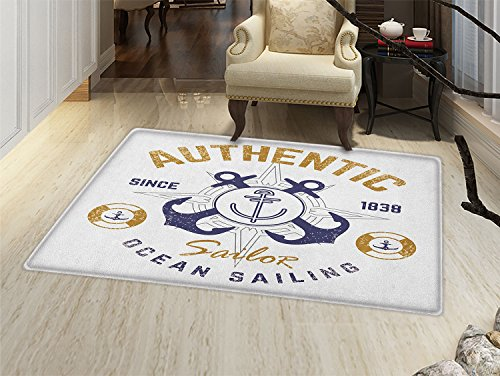 smallbeefly Anchor Door Mats Area Rug Authentic Nautical Print with Anchor Lifeboys and Rudder Captain Features Floor mat Bath Mat for tub Golden Blue White