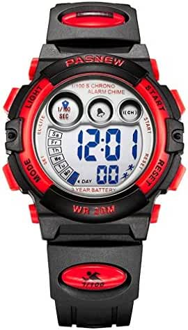 Kids LED Digital Unusual Sports Outdoor Children's Wrist Dress Waterproof Watch with Silicone Band, Alarm, Stopwatch for Boy Girl Red