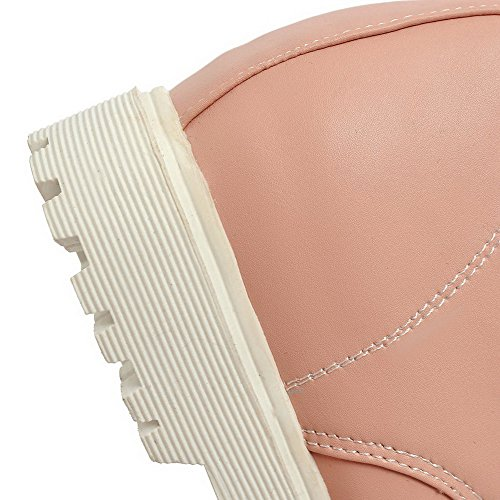 AllhqFashion Mujeres Mini Tacón Caña Baja Sólido Cordones Botas Rosa