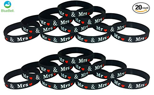 20 pcs wristbands Wedding Favors -Mr & Mrs- (Mr. & Mrs.)