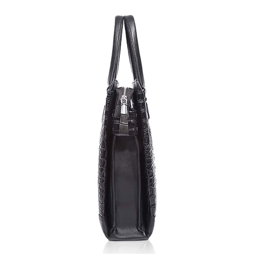 Binglinghua äkta läder axelväska för män krokodil mönster crossbody väska-BLHTYC7014 Svart