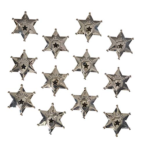 12-Pack Metal Sheriff Deputy Cowboy Toy Badges for Kids, Party Favors, and Pretend Play, 2.7 Inches Diameter]()