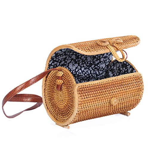 Women's Bag, Rattan Bag - Cylindrical - Slung - Beach Bag - Flower Lining - Retro Travel Bag by BHM (Image #6)