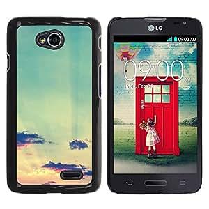 YOYOYO Smartphone Protección Defender Duro Negro Funda Imagen Diseño Carcasa Tapa Case Skin Cover Para LG Optimus L70 LS620 D325 MS323 - verde azulado cielo nubes sol sunset verano