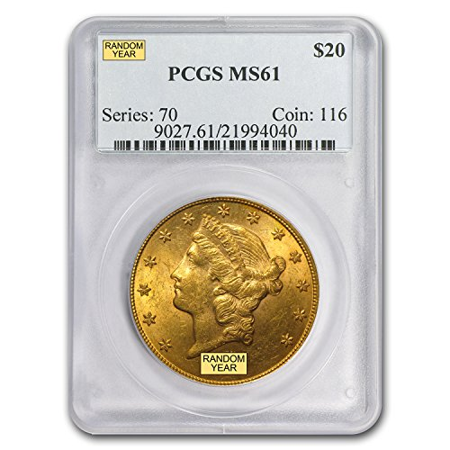 1850 – 1907 $20 Liberty Gold Double Eagle MS-61 PCGS G$20 MS-61 PCGS