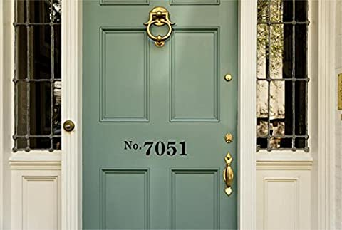 Enchantingly Elegant hsnmbr1 Personalized Front Door House Street Address Number Vinyl Decal Sticker Lettering Numbers Business Store (Steel House Numbers)