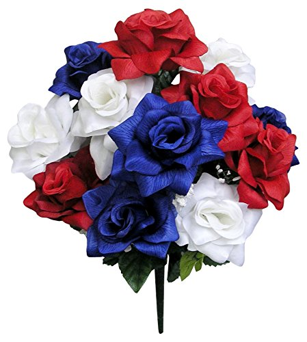- Admired By Nature GPB293-RD/WT/BL 12 Stems Veined Satin Rose Bush, Red/White/Blue, Piece