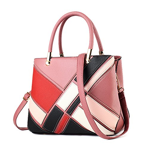 Zhxuanxuan New Ladies Handbag Spell Color Fashion Handbag 2018 Messenger Shoulder Bag Pink