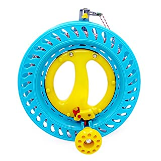 emma kites Lockable Kite Reel Winder 8.7inches(Dia) Macaron Blue with 120lb Line Smooth Rotation Ball Bearing Tool for Single Line Kite Flying Inflatable Delta Octopus Another Big Knob