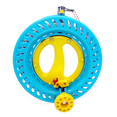 Flying Lines - emma kites Lockable Kite Reel Winder 8.7inches(Dia) Macaron Blue with 120lb Line Smooth Rotation Ball Bearing Tool for Single Line Kite Flying Inflatable Delta Octopus Another Big Knob
