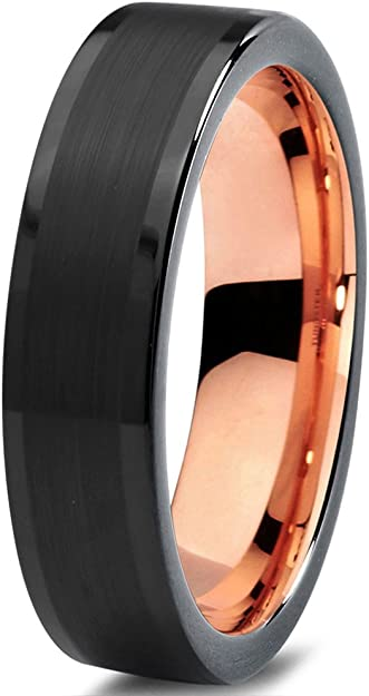 Midnight Rose Collection Tungsten Wedding Band Ring 6mm for Men Women 18k Rose Gold Plated Flat Cut Black Grey Brushed Polished