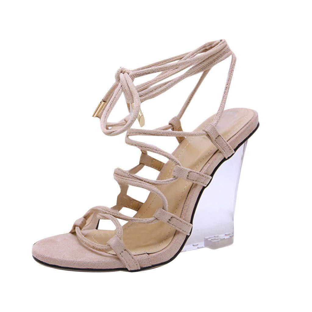Orangeskycn Summer Women Sandals Cross Bandage New Roman Strap-on Transparent Gladiator Crystal Sloping Heel Sandals Shoes Beige